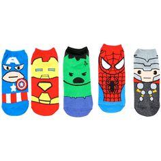 Marvel Heroes No-Show Socks 5 Pair ($12) ❤ liked on Polyvore featuring intimates, hosiery, socks, multi, marvel socks and bright socks