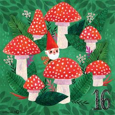 A bit late today. But sharing it anyway. Only 16 days until Christmas. This little gnome is counting the days too? Forest Illustration, Christmas Illustration, Children's Book Illustration, Christmas Gnome, Christmas Design, Christmas Ideas, Christmas Inspiration, Pattern Wallpaper, Print Patterns