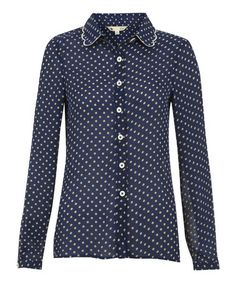 Another great find on #zulily! Navy & White Pin Dot Button-Up #zulilyfinds