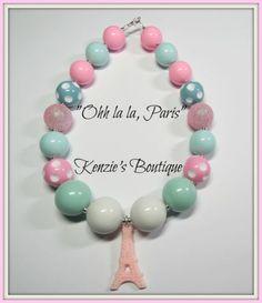 """""""Ohh la la, Paris"""" Chunky Beaded Necklace , Photo Prop, Children, Child, France"""