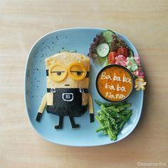 One of the minions. Ingredients 1. Minion - Omurice (Japanese omelette rice) - Cheese - Nori (seaweed) 2. Carrot and tomato soup (serve 3-4) - 2 carrots, cubed - 1 bowl cherry tomato - 2 tbsp olive oil - 1 large onion, chopped - 4 cloves garlic - 1 tsp finely chopped ginger - 4-5 cups veggie stock - Salt and pepper - Greek yogurt Method: - Put the oil, onions, in large saucepan and cook until soften. Add in garlic and ginger, cook for about a min. - Add carrots and cherry tomatoes and cook…
