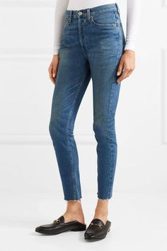 RE/DONE - Originals High-rise Ankle Crop Frayed Skinny Jeans - Blue