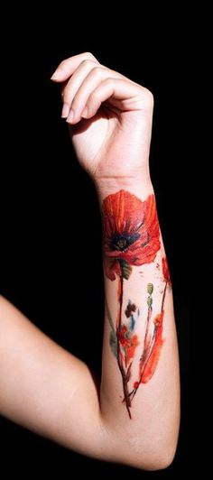 wrist flower tattoos | Category: Flower Tattoos , Poppy Flower Tattoos , Wrist Tattoos | No ...