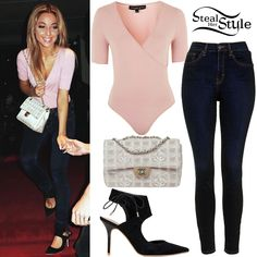 Gabriella DeMartino instagrammed a picture yesterday wearing a Petite Wrap Bodysuit ($32.00), Moto Dark Ink Jamie Jeans ($70.00) and Gallery Asymetric Court Shoes ($90.00) all from Topshop, and a Chanel Logo-Jacquard Shoulder Flap Bag ($1,088.83 pre-owned).