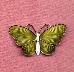 Green & White Norway Sterling Enamel Butterfly Pin