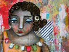 unpackyourjoy  Mixed Media by Mystele.  Love her use of colour and whimsy.
