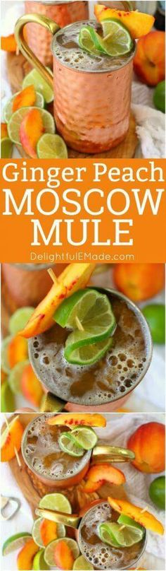 delicious twist on the classic Moscow Mule recipe! Made with just a few simple ingredients, this Ginger Peach Moscow Mule combines the cold, crisp flavors of ginger beer with fresh peaches. Fancy Drinks, Cocktail Drinks, Cocktail Recipes, Processco Cocktails, Drink Recipes, Ginger Peach, Ginger Beer, Fresh Ginger, Refreshing Drinks