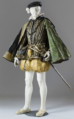 Henri ll (1519-59), King of France and husband of Catherine de Medici, paper dress created by Isabelle de Borchgrave.