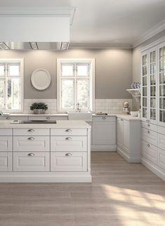 Kitchen ideas white cabinets grey walls doors 70 ideas for 2019 White Kitchen Cabinets, Kitchen Tiles, New Kitchen, Kitchen Decor, Kitchen Grey, Glass Cabinets, Upper Cabinets, Kitchen With Grey Walls, Order Kitchen