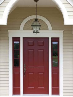Behr S Morocco Red Paint For Front Door Love The Almond Color House Siding With