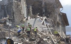 Collapsed buildings are seen in Amatrice, central Italy on August 24, 2016…