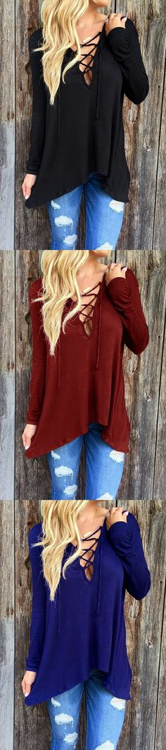 New Trendy Spring Autumn Women Long Sleeve Casual Blouses Sexy V Neck Bandage Asymmetric Hooded Blouse Plus Size Tops Tee - Wine Red, M Oh just take a look at this! Visit our store Plus Size Blouses, Plus Size Tops, Fall Outfits, Cute Outfits, Casual Outfits, Mode Simple, Look Chic, Blouse Styles, Long Sleeve Tops