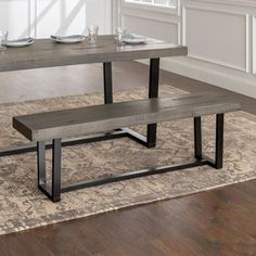 Manor Park Solid Wood Distressed Dining Bench - Grey, Size: x Gray Farmhouse Table With Bench, Kitchen Table Bench, Farmhouse Kitchen Tables, Dining Table With Bench, Dining Room Sets, Dining Room Table, Unique Home Decor, Home Decor Items, Home Decor Quotes