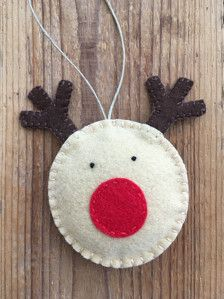 Rudolph is a handmade felt ornament, measuring 3 and 4 High (including his antlers). He is made using wool blend felt, hemp cord, and lightly filled with Polyfil. Wooden Christmas Decorations, Beaded Christmas Ornaments, Felt Ornaments, Glass Ornaments, Ornament Crafts, Felt Crafts, Holiday Crafts, Heart Ornament, Rudolph Christmas