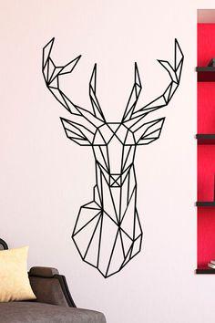 Vente STICKERS / 24345 / Nature et animaux / Sticker Origami tête de cerf Noir