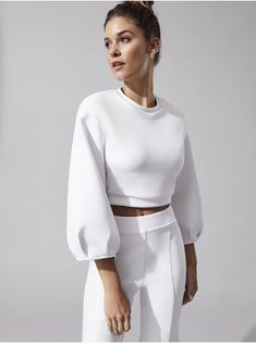 Mari Long Sleeve Tees in White by Cushnie from White Long Sleeve, Long Sleeve Tees, Casual Outfits, Fashion Outfits, Business Outfit, Sport Chic, Look Chic, Women's Activewear, White Fashion
