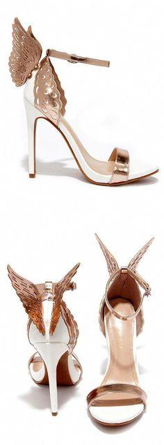 0e04385b5f1f3a Rose Gold Winged Heels  Promheels Fancy Shoes