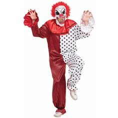Horror clown kostuum met masker. Deze complete outfit bestaat uit de rood met witte clown jumpsuit (inclusief kraag) en eng masker. Maat: one size fits most, ongeveer heren maat M/L.