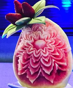 Lily Beach strawberry blossom Fruit Art, Gourds, Maldives, Watermelon, Strawberry, Lily, Carving, Beach, The Maldives