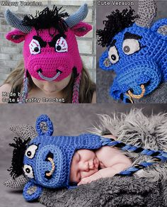 Ravelry: Ollie the Oxen Bull (Angry or Cute) All Sizes pattern by Boomer Beanies