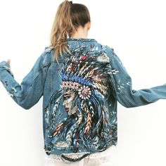 Hand painted denim jacket by Ukrainian artist Ana Kuni www.anakuni.com