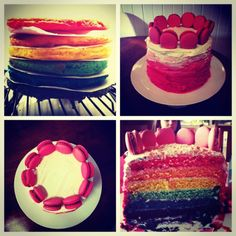 Rainbow cake with chocolate ganache, popping candy and fruit tingles. Topped with salted caramel macarons