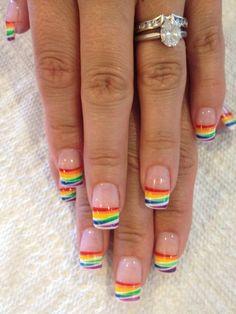 Rainbow nails My nail designs Rainbow nail art, Rainbow nails nail design french tip - Nail Desing Nail Tip Designs, French Nail Designs, Nails Design, Rainbow Nail Art Designs, Fingernail Designs, French Nail Art, French Tip Nails, Summer French Nails, Bling Nails