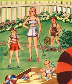 Mother, Dad and Us Kids * Free paper dolls at Arielle Gabriel's The International Paper Doll Society