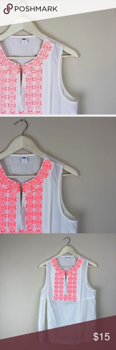 OLD NAVY tank blouse embroidered neon pink large I love the neon pink detail in this piece! *PRICE FIRM*   length: 25, Bust: 20. Old Navy Tops Blouses