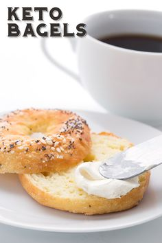 Truly chewy keto bagels - you want them and I've got them! These bagels are low carb, nut-free, and take only 5 ingredients to make. Easy and delicious, they will take your healthy breakfast to a whole new level. All Day I Dream of Food, use this one! Keto Bagels, Low Carb Bagels, Gluten Free Bagels, Keto Foods, Ketogenic Recipes, Low Carb Recipes, Coconut Flour Recipes Keto, Bread Recipes, Pork Recipes