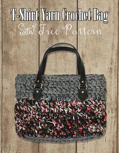 I've got another fun, free crochet pattern for you today. This crochet bag is made with two colors of t-shirt yarn and has faux leather h...