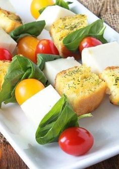 Homemade herbed croutons add a crunchy texture to these festive and flavorful caprese skewers. To avoid having to cube the mozzarella, look for small fresh-mozzarella balls (often available with the specialty cheeses) instead. Make the croutons the night before for easier assembly on party day!