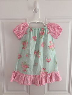 Girls Easter Dress - Shabby Chic Ruffled Pink Blue Floral 3 6 12 18 24 2T 3T 4T 5/6 7/8 9/10 Brother Sister Sibling Spring Summer Outfit Set