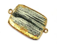 You will receive 1 piece of 24kt Gold Electroplated edge Zebra Jasper Rounded Rectangle connector/ Gold Layered Double Loop Pendant / Gemstone Charm.  Connector Size: 34x22mm with bail. Item Code : ZA21  To check more of our Gold / Silver Electroplated items kindly visit the link given below:- https://www.etsy.com/shop/RareGemsNJewels/search?search_query=electroplated+&order=date_desc&view_type=list&ref=shop_search  To check more of our Angel pendant with crystal pencil visit the link given…