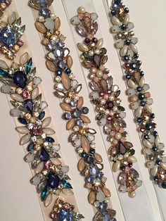 Rose Gold, Blush, Olive, Deep Burgundy, Lavender and Ivory Opal Floral Crystal Embellished Multi Colored Bridal Satin Ribbon Sash Belt Crystal Embroidery, Bead Embroidery Patterns, Couture Embroidery, Embroidery Fashion, Embroidery Jewelry, Tambour Beading, Motifs Perler, Bead Sewing, Deep Burgundy