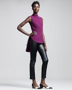 THE ROW Sleeveless Crepe Peplum Blouse & Ankle-Zip Leather Leggings