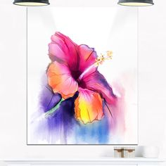 Yellow Hibiscus Flower in Blue - Flower Glossy Metal Wall Art