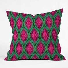 Wagner Campelo Ikat Leaves Throw Pillow #coloroftheyear