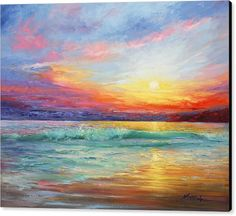 Smile Of The Sunrise Painting by Marie Green - Smile Of The Sunrise Fine Art Prints and Posters for Sale Landscape Art, Landscape Paintings, Sunset Paintings, Sunset Landscape, Sunrise Painting, Beach Sunset Painting, Sunrise Drawing, Sun Painting, Sunset Canvas