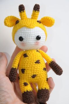 Amigurumi doll in giraffe costume