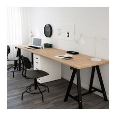 IKEA - GERTON / ALEX, Table, , At this large desk made of solid wood, there's room for several people – so that you can plan a vacation on one side and do homework on the other.Solid wood is a durable natural material. Guest Room Office, Home Office Space, Small Office, Home Office Design, Home Office Decor, Office Furniture, Home Decor, Office Ideas, Double Desk Office