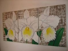 Orchids over wood panel
