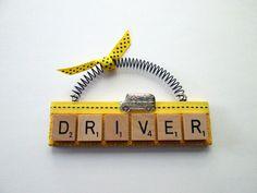 School Bus Driver Scrabble Tile Ornament by ScrabbleTileOrnament