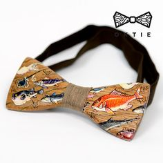 "OKTIE - wooden accessories: OKTIE Wood Bow Tie ART Series ""Fish"""