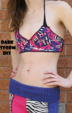 Scrap Fabric Bikini Top DIY  Pink Purple and Zebra by DarkStormDIY
