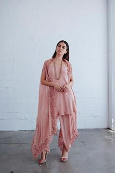 Natasha Outfit – KYNAH - Blush pink cape with detailed embroidery along edge paired with a long spaghetti strap blouse and dhoti pants. Dress Indian Style, Indian Dresses, Indian Wear, Pakistani Outfits, Indian Outfits, Ethnic Fashion, Indian Fashion, Patiyala Dress, Indian Designer Outfits