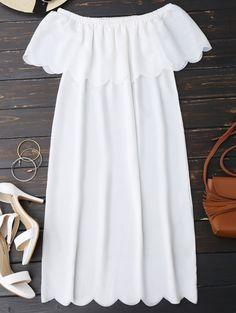 Off The Shoulder Scalloped Dress in White | Sammydress.com