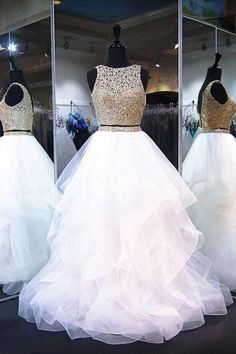 Two Piece White Shiny Ruffles Sleeveless Floor Length Prom Gown with Gold Top – Sweet 16 Dresses Prom Dresses Two Piece, Cute Prom Dresses, Sweet 16 Dresses, Black Prom Dresses, Tulle Prom Dress, Mermaid Prom Dresses, Pretty Dresses, Homecoming Dresses, Mermaid Gown