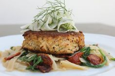lump crab cakes with arugula & oven dried tomato fettuccini scampi & pink grapefruit marinated shaved fennel salad