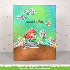 Lawn Fawn - Mermaid for You, Simple Stitched Hillside Borders _  card by Chari for Lawn Fawn Design Team